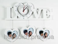 Настенные часы белые из дерева Сердце Любовь