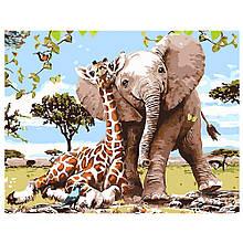 Картина по Номерам Слоненок и жираф — лучшие друзья 40х50см Strateg