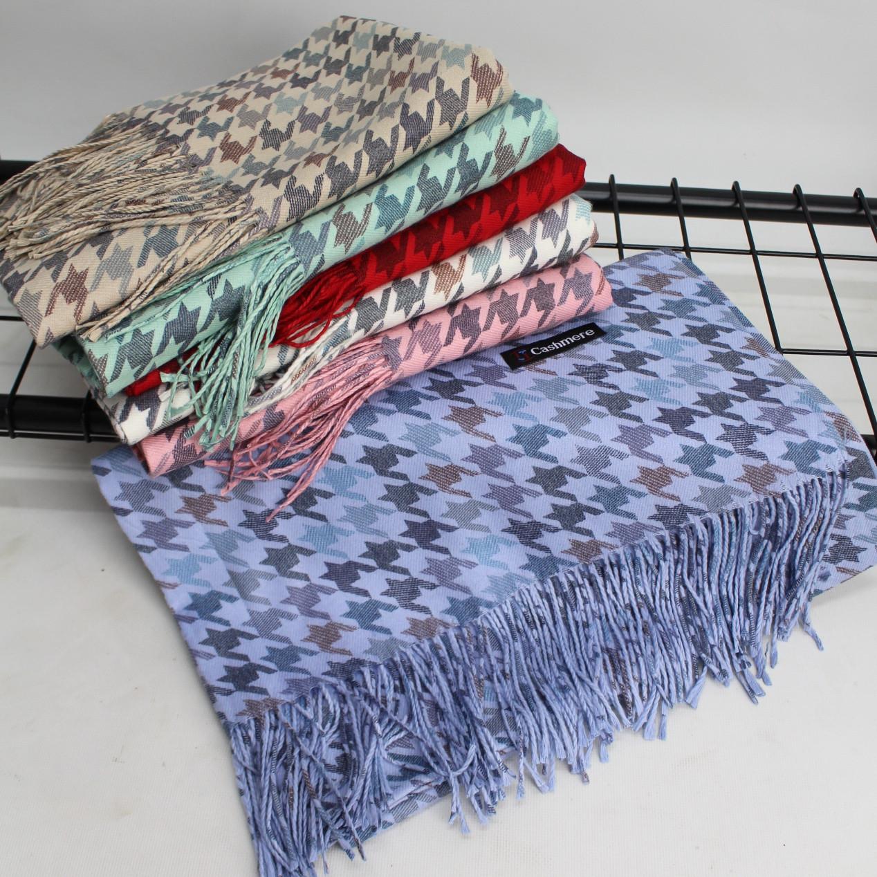 """Кашеміровий двосторонній шарф палантин """"Дінара"""" блакитний Cashmere 121001"""