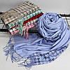 """Кашеміровий двосторонній шарф палантин """"Дінара"""" блакитний Cashmere 121001, фото 3"""