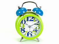 Часы будильник голубой с зеленым