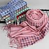 """Кашеміровий двухсторонній шарф палантин """"Дінара"""" розовий Cashmere 121002, фото 3"""