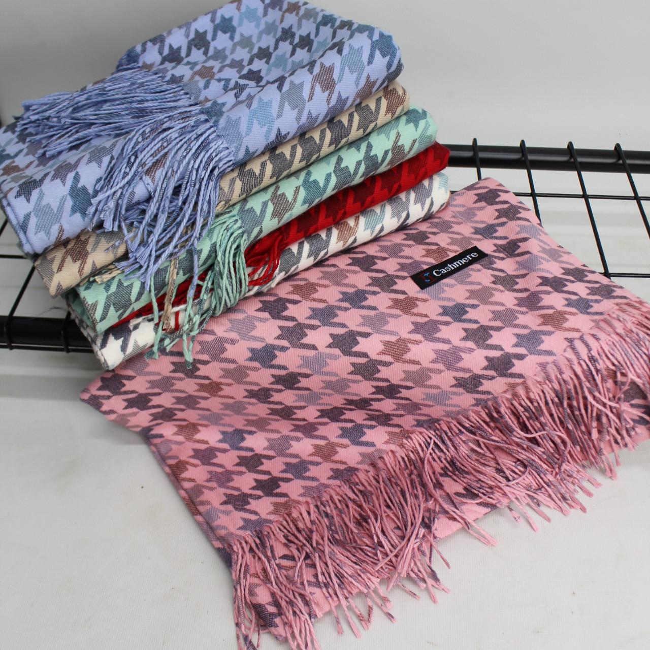 """Кашеміровий двухсторонній шарф палантин """"Дінара"""" розовий Cashmere 121002"""