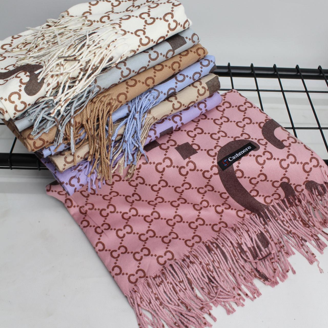 """Кашемировый двусторонний шарф палантин """"Гульнара"""" розовый Cashmere 122005"""