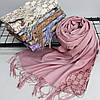 """Кашемировый двусторонний шарф палантин """"Гульнара"""" розовый Cashmere 122005, фото 3"""