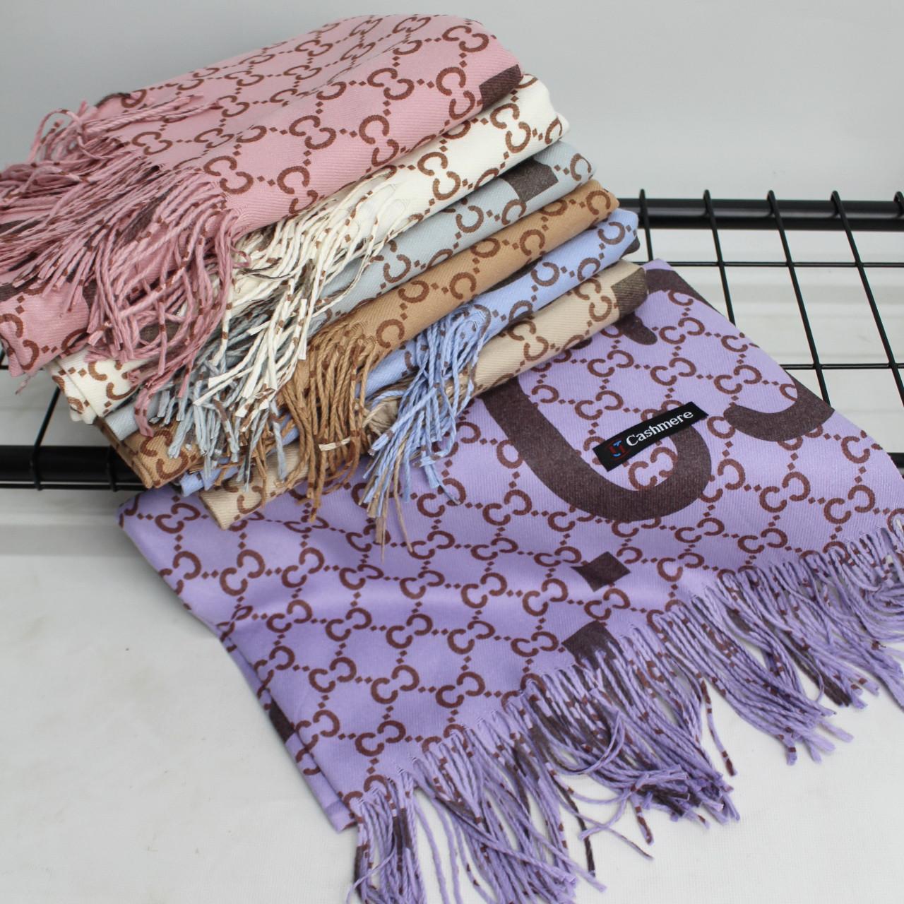 """Кашемировый двусторонний шарф палантин """"Гульнара"""" фиолетовый Cashmere 122006"""