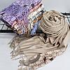 """Кашеміровий двухсторонній шарф палантин """"Гульнара"""" бежевий Cashmere 122007, фото 3"""