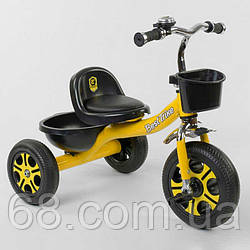 Велосипед 3-х колісний LM-9033 Best Trike (1) ЖОВТИЙ, піно колесо, метал. рама, дзвіночок, 2 корзини,
