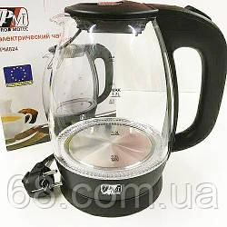 Электрический чайник стеклянный PROMOTEC PM-824 2250W Black p
