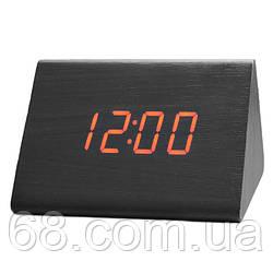 Часы VST 864 черное дерево (красная подсветка) (3790)