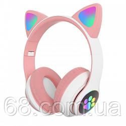 Оригінальні бездротові Bluetooth стерео навушники з котячими RGB вушками Fingertime Cat VZV-23 M BT Рожеві