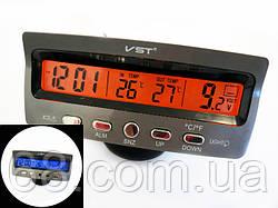 Годинник автомобільні VST 7045V з індикацією заряду АКБ (з вольтметром), і двома термо датчиками (3802)