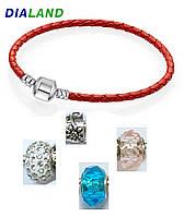 Браслет косичка в стиле Pandora (16 см, красный, количество и цвет бусин на вибор)