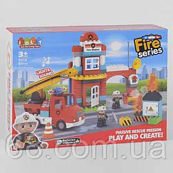 Конструктор JDLT 5418 (12/2) Пожежна станція , 85 деталей, світло, звук, в коробці