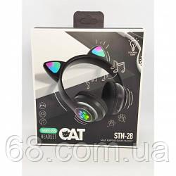 Бездротові Bluetooth-навушники Cat Ear STN-28 з такими вушками Чорні