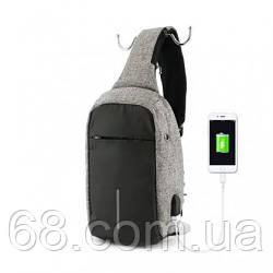Рюкзак міський протикрадій Bobby Mini з захистом від кишенькових злодіїв і USB-портом для заряджання сірий