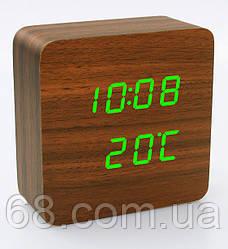 Часы VST 872 коричневое дерево (зеленая подсветка) (6995)
