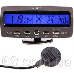 Автомобільні годинник з термометром і вольтметром VST 7045V 44865