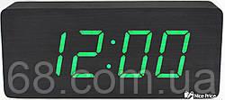 Часы VST 865 черное дерево (зеленая подсветка)