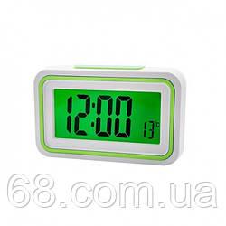 Будильник говорящие часы KENKO 9905 TR Белый с Салатовым