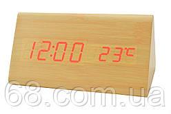 Часы VST 861 светлое дерево (красная подсветка)