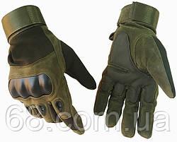 Тактичні рукавички полнопалые Oakley темно-зелені (0010) L
