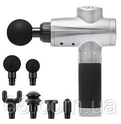 Акумуляторний портативний ручний масажер для тіла Fascial Gun KH-320 Silver (WJ5) (14019)