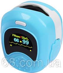 Детский аккумуляторный пульсометр оксиметр на палец (пульсоксиметр) CONTEC CMS50QB LCD Blue