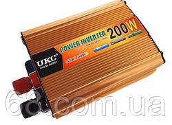 Преобразователь напряжения(инвертор) 12-220V 200W + USB Gold (7063)