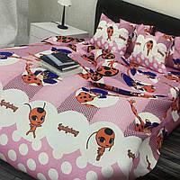 Комплект постельного белья полуторный 150/220 с детским рисунком, две нав-ки 70/70,ткань сатин 100% хлопок