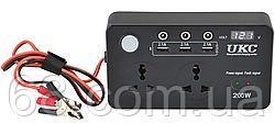 Преобразователь UKC авто инвертор 12V-220V 200W с экраном (3 USB, 2 розетки, 3 порта 5.5х2.5) (7064)
