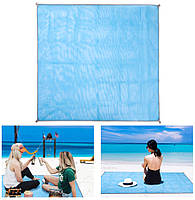Коврик-подстилка для пикника или моря анти-песок Sand Free Mat 200x200 мм Голубой (1872) p