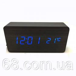 Цифровые деревянные часы VST-862 (BLUE)