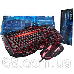 Профессиональная игровая клавиатура + мышь V100 с подсветкой