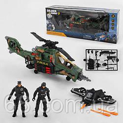 Військовий набір 81-45 (8/2) 8 елементів, 2 солдата, вертоліт на батарейках зі світлом і звуком, винищувач
