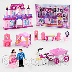 Домик 16338 С (6) 2 этажа, 2 мини куклы, карета с лошадью, мебель, в коробке