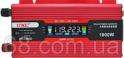 Перетворювач UKC авто інвертор 12В-220В 1000W LCD KC-1000D + USB Red (5000)