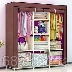 Складаний тканинний шафа, шафа для одягу Storage Wardrobe 88130 на 3 секції Коричневий