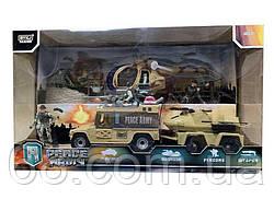 Військовий набір 6649 В (8) 10 елементів, вертоліт на батарейках зі світлом і звуком, 4 солдата, машинка з