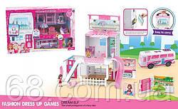 Игровой набор 7822 (18)  3 этажа, 2 фигурки персонажей, автобус, мебель, в коробке