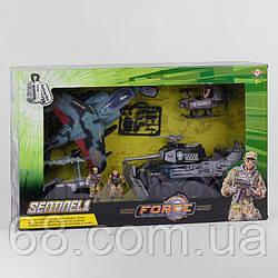 Військовий набір 81-34 E (6)9 елементів, танк, винищувач, 3 солдата, аксесуари, в коробці