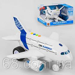 Самолёт WY 730 А (12) свет, звук, инерция, фразы на английском языке, на батарейках, в коробке