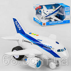 Самолёт WY 730 B (12) свет, звук, инерция, фразы на английском языке, на батарейках, в коробке