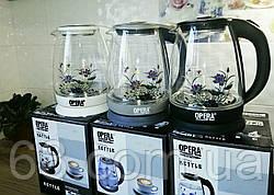 Электрический чайник стеклянный  2л OPERA с цветком p