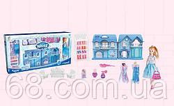 Домик КВ 99-27 (12) 2 этажа, кукла, наряды, мебель, аксессуары, свет, звук, на батарейках, в коробке