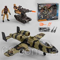 Військовий набір 81-47 (8/2) 10 елементів, 2 солдата, вертоліт на батарейках зі світлом і звуком, кулемет