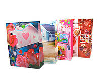 Пакеты подарочные Цветы и Сердечки 12 шт./упаковка