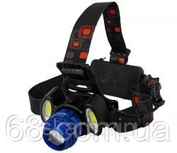 Налобный фонарь с ТРЕМЯ светодиодами и ДВУМЯ сменными аКкумуляторами p