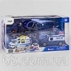 Набір Поліції 8837 В (8) 10 елементів, 3 поліцейських, собака, автобус на батарейці зі світлом і звуком,