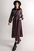 Женское платье Коллор свободного силуэта длиной макси и с кулиской-пояском по талии 42-56 размер черный